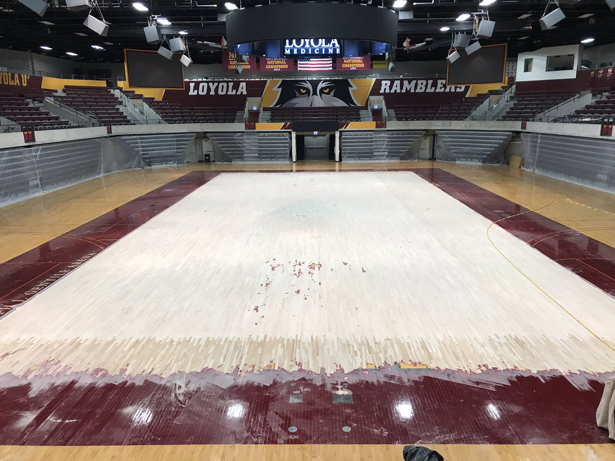 Hardwood renovations are underway at Gentile Arena! #OnwardLU 🐺
