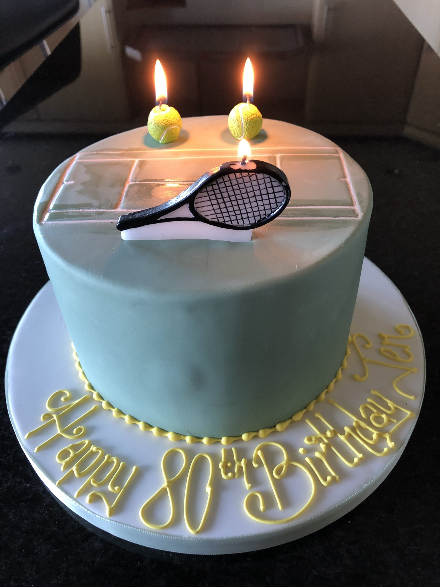 happy 80th birthday mum, to a huge tennis fan and follower of enjoy your cake!