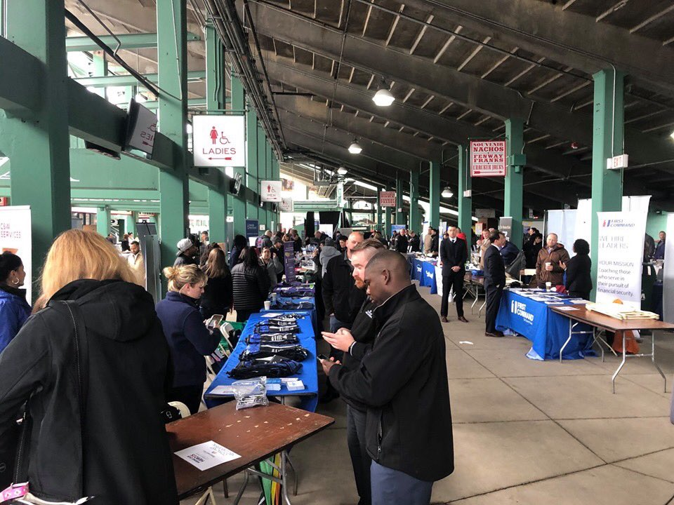 Hundreds of service members & military spouses attend a Hire Our Heroes military hiring event at Fenway Park, May 14, 2019. The event included career building workshops & a hiring fair with representatives from companies like Amazon, Carmax, Comcast & Verizon. #NATIONALGUARDWEEK
