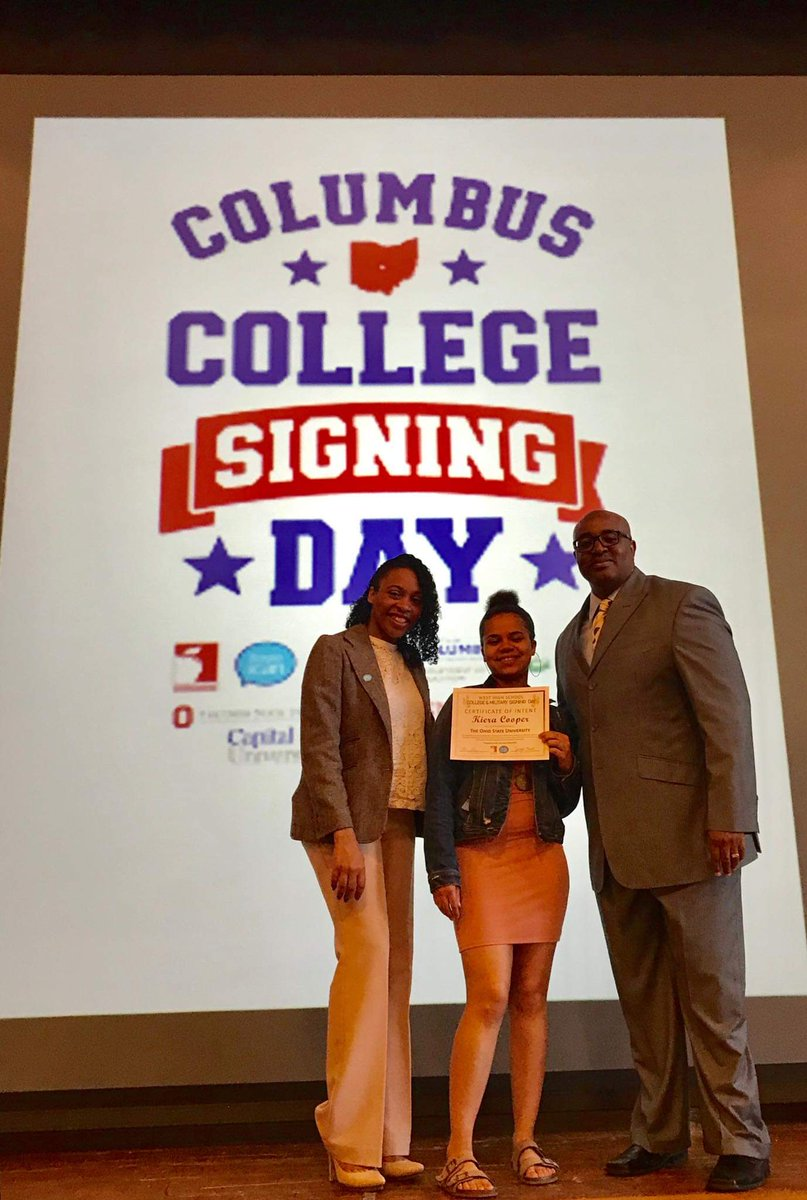 This also happened today: @ColsCitySchools West High School's #CollegeSigningDay ceremony.