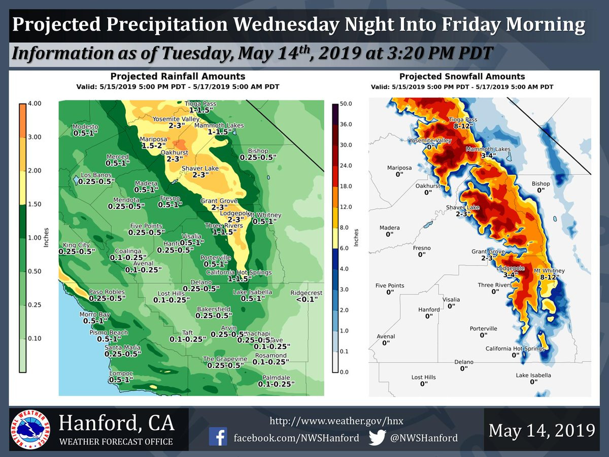 A storm system will impact Central California Wednesday night into early Friday morning. Heavy snow is likely in the Southern Sierra Nevada above 7,000 feet, where a Winter Storm Warning is in effect. Most of this precipitation will fall Wednesday night & Thursday morning. #CAwx<br>http://pic.twitter.com/BOYPqFgVa7