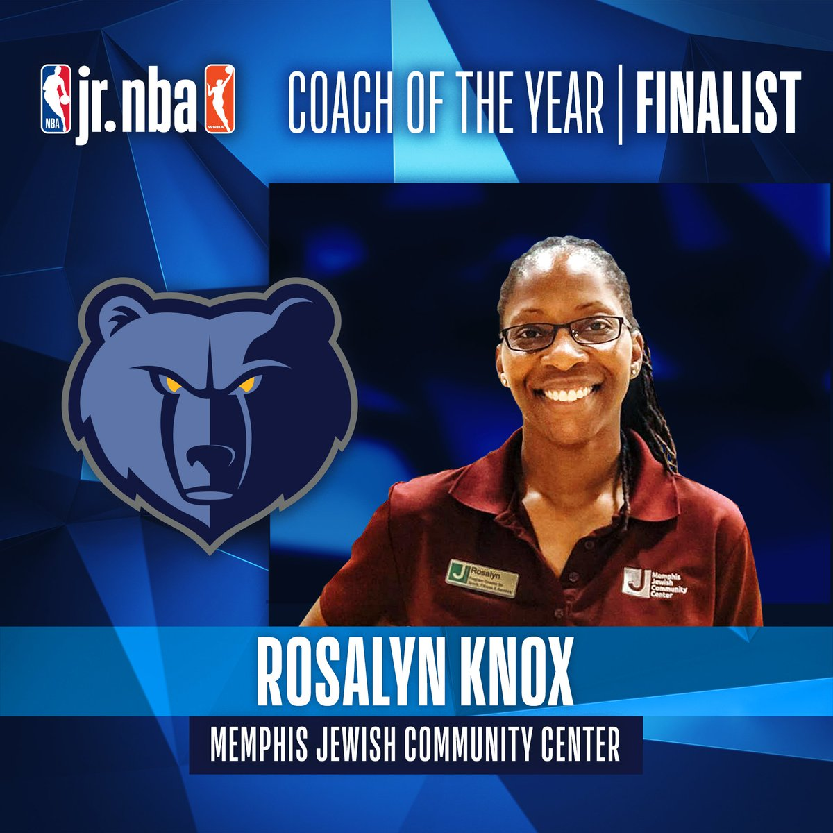 A finalist for 2019 #JrNBACOY is Rosalyn Knox. Coach Rosalyn is an activator of multiple @memgrizz Youth Basketball initiatives! Jr. NBA Coach of the Year will be announced at the Jr. NBA Youth Basketball Leadership Conference on May 17! 👏  More: https://t.co/pvdB8OCMMw https://t.co/R3MnkdO4Y9
