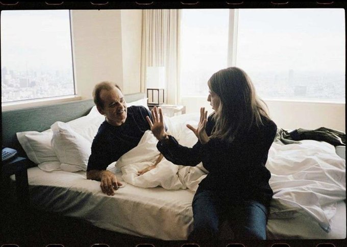 Happy birthday Sofia Coppola, seen here on the set of Lost in Translation with Bill Murray.
