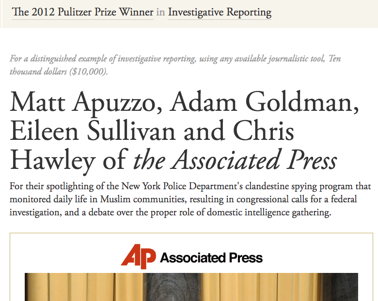 """Here's another one. Was the Pulitzer Committee wrong to award the Associated Press a prize for their journalism about the U.S. government """"spying"""" on Muslim Americans? Could she or others point me to their condemnations of these media outlets' claims of """"spying"""" by the US?"""