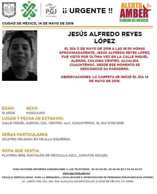 Se activó la #AlertaAmber en la #CDMX para localizar a Jesús Alfredo Reyes López, de 13 años; Elliot Abraham Lara Rodríguez, de 2 años; Ingrid Paola Figueroa García, de 17 años, y Leonardo Cisneros Ugarte, de 15 años. Dale #RT por favor #DFT
