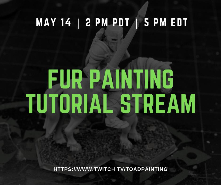 Come join me today at 2pm PDT on Twitch where I'll demonstrate my techniques for painting textured fur on a flat surface.  Hope to see you there! https://www.twitch.tv/toadpainting   #twitch #miniaturepainting #miniatures #minipainting #heroforge #tutorial
