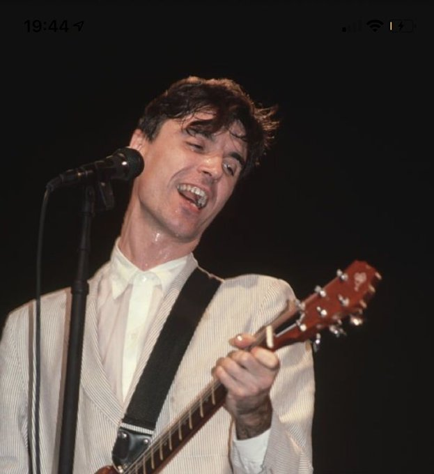 Happy birthday to my husband, David Byrne. Love u 2 the moon and back, my big suited KING