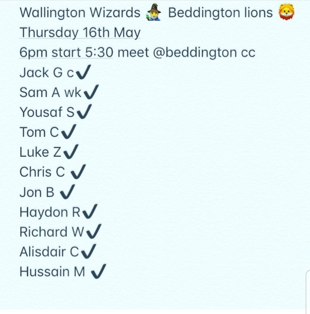 Team News for tomorrows game away to @beddocc in the @SurreySlam   The wizards looking to enter the Lions den and leave victorious to kick start their T20 Midweek campaign   #cricket #OhWallington