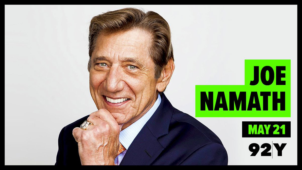 Joe Namath visits 92Y on May 21 - to discuss his life and legendary @nyjets career with @Espngreeny! Tickets here: https://www.92y.org/event/joe-namath…