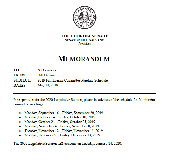 Here is our schedule for fall committee weeks. @FLSenate