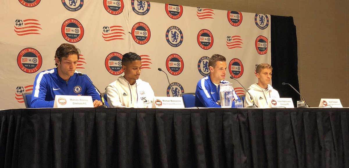 """It's a big game for everybody as we fight antisemitism and all kinds of discrimination.  ""We are very proud of what the clubs are doing.""  - @ChelseaFC's César Azpilicueta  #NERevs  and #CFC press conference for the #FWOH is underway. #CFCinBoston"