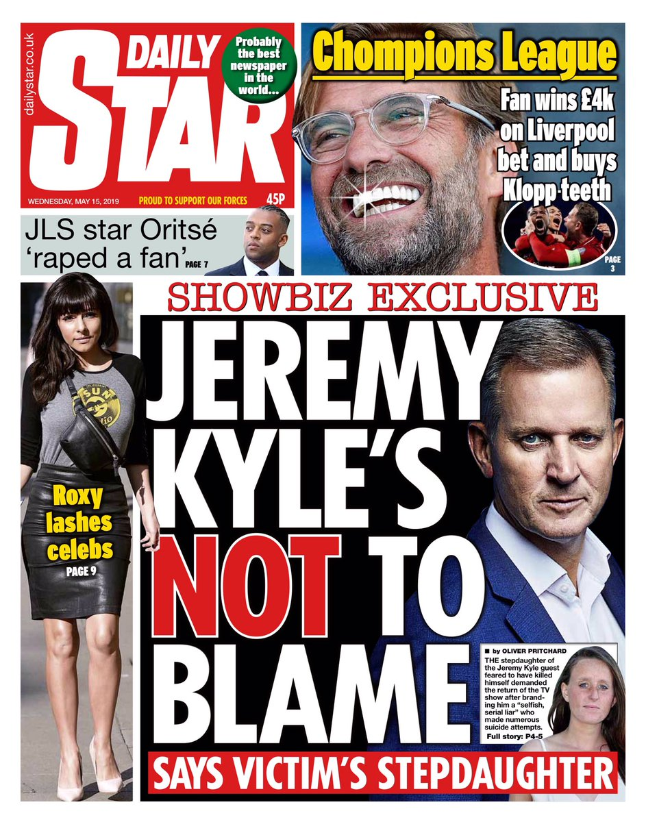 """Wednesday's Daily Star""""Jeremy Kyle's not to blame""""#tomorrowspaperstoday#bbcpapers(via @MsHelicat)"""