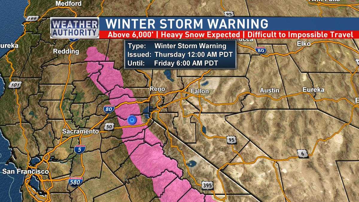 A Winter Storm Warning (yes it's May & this isn't an old tweet) has been issued for the Western Slope of the Sierra Above 6,000'. Expect travel delays and possible chain controls if going through the higher passes of the northern Sierra Nevada starting Wednesday #WeatherAuthority<br>http://pic.twitter.com/xdsE90hl5f