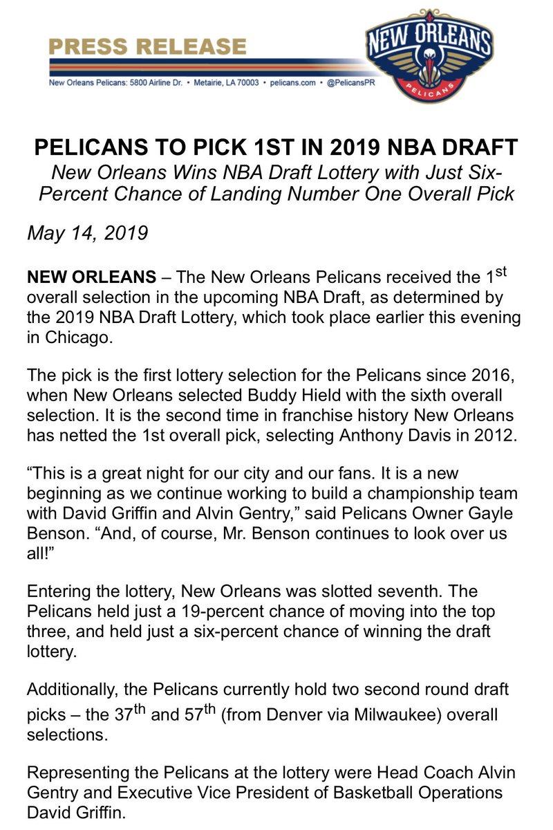Pelicans PR's photo on NBA Draft