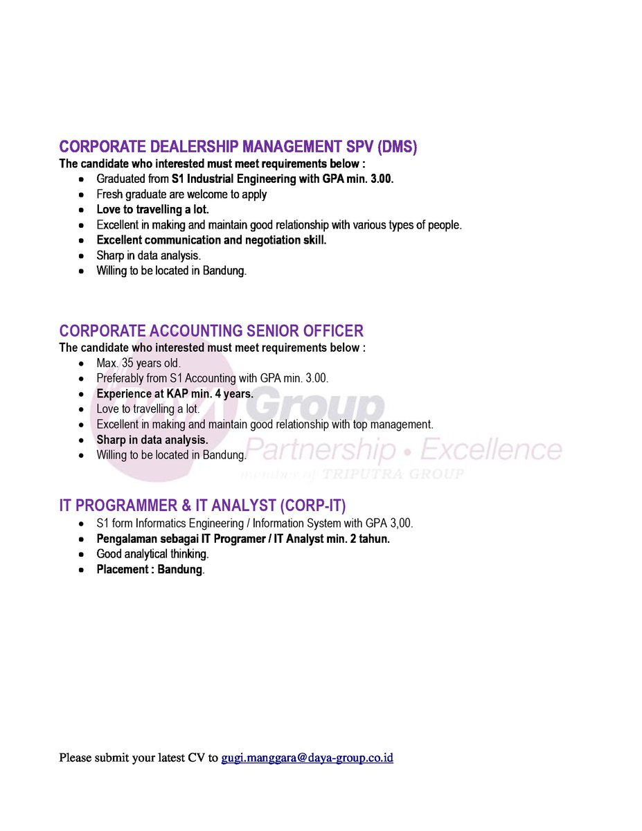 Cdc Unpar On Twitter Job Vacancies Daya Group Now Hiring Corporate Dealership Management Spv Corporate Accounting Senior Officer It Programmer It Analyst Corporate Internal Auditor Pdca Officer And Tax Assistant Manager