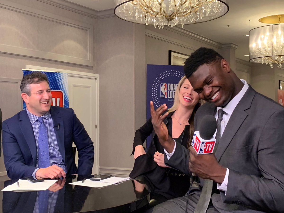 Zion is so wise & considerate for an 18 year old star. Andy asked if he could rewind 4 years, what would that version of himself say if he could see him now. He said I'm glad he didn't see me now because I wouldn't have worked so hard. Amen. @ZionW32 @NBATV @DukeMBB @TheAndyKatz