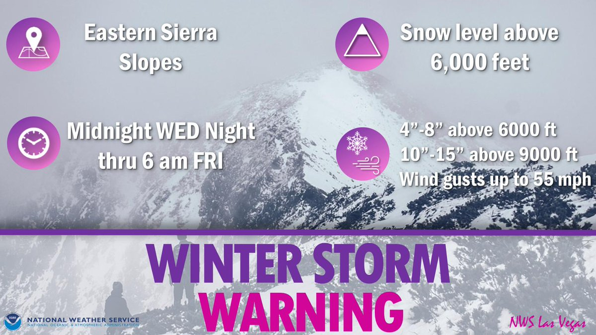 Winter Storm Warning in effect for the east slopes of the Southern Sierra from midnight Wed night til 6 AM PDT Fri. More snow possible late this weekend.  soooo...  hold off on those Sierra hiking plans for a while. #cawx<br>http://pic.twitter.com/6cx1sCms2M