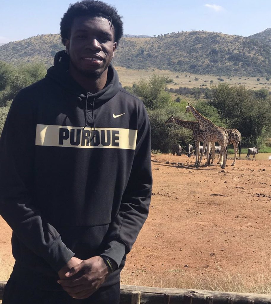 .@Emmanuelnii32 recently just completed a mission trip to Johannesburg, South Africa.   The big man from Ghana made a big impact.   #BoilerUp 🚂