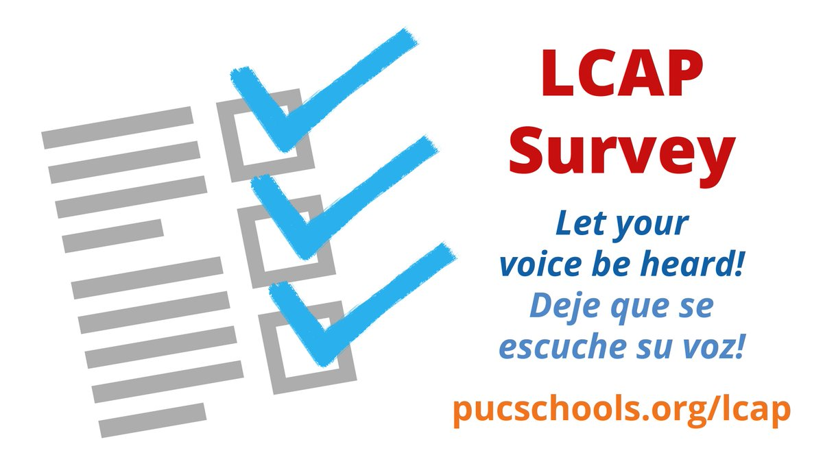 Our schools would like your input for additional updates to their respective Local Control Accountability Plan (LCAP). We value your opinion and hope that you will take the time to complete the survey.   LCAP Stakeholder Survey:  https:// bit.ly/2Vocjaf  &nbsp;  <br>http://pic.twitter.com/Tzsw6J2tDm