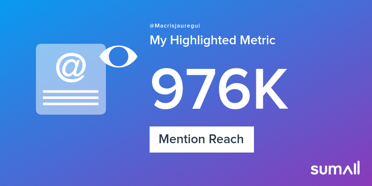 My week on Twitter 🎉: 77 Mentions, 976K Mention Reach, 47 Likes, 11 Retweets, 92.3K Retweet Reach. See yours with https://sumall.com/performancetweet?utm_source=twitter&utm_medium=publishing&utm_campaign=performance_tweet&utm_content=text_and_media&utm_term=35fed158a4f55a1e54baaf10 …