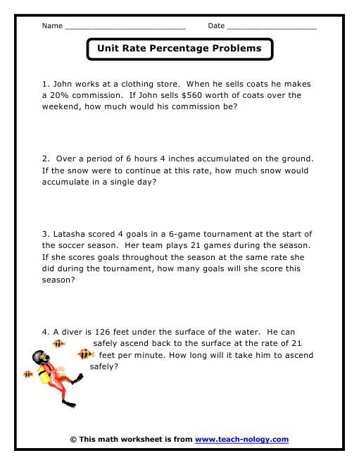 unit rate word problems worksheet | Image Slny