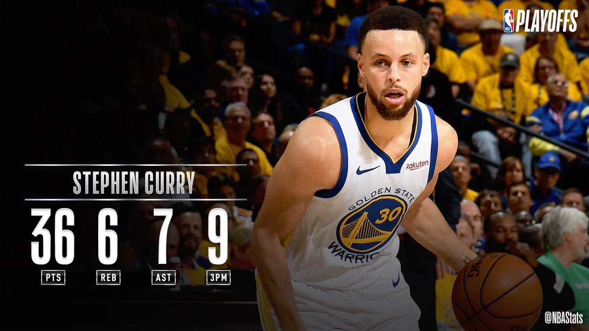 Steph Curry tied his #NBAPlayoffs  career-high with 9 three-pointers in the Game 1 win. The only other players to make 9+ threes in more than one postseason game are Ray Allen & Klay Thompson, with two each. #SAPStatLineOfTheNight <br>http://pic.twitter.com/aYAKBW5PWv