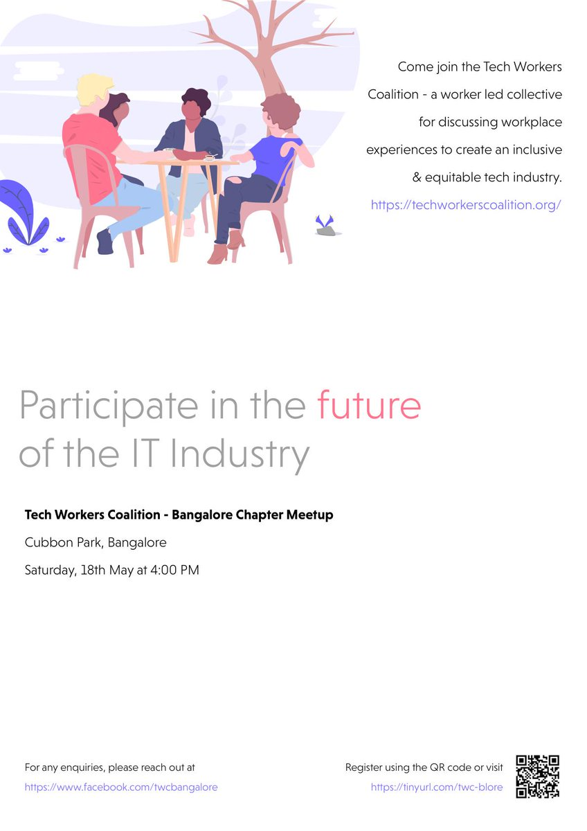 Tech Workers Coalition is having it's first Bangalore meetup this Saturday, and it is at Cubbon Park. Come and let's envision better futures for the IT industry together! #workercollective #solidarity #techindustry #labor