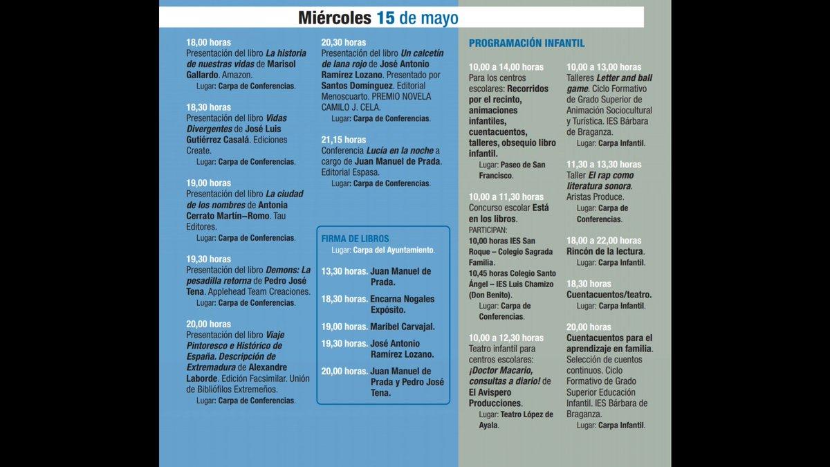 #FERIADELLIBRO Programación miércoles 15 de mayo @FLBadajoz #FLB2019 #Badajoz https://t.co/3Nfkv0uokT