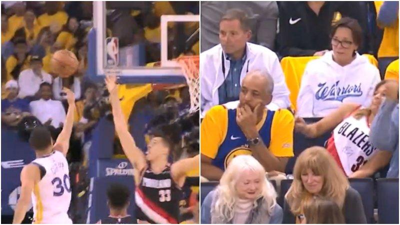 【影片】這球感太神了!柯瑞面對補防直接反向手高拋,Curry母親連身子都看歪啦!-Haters-黑特籃球NBA新聞影音圖片分享社區