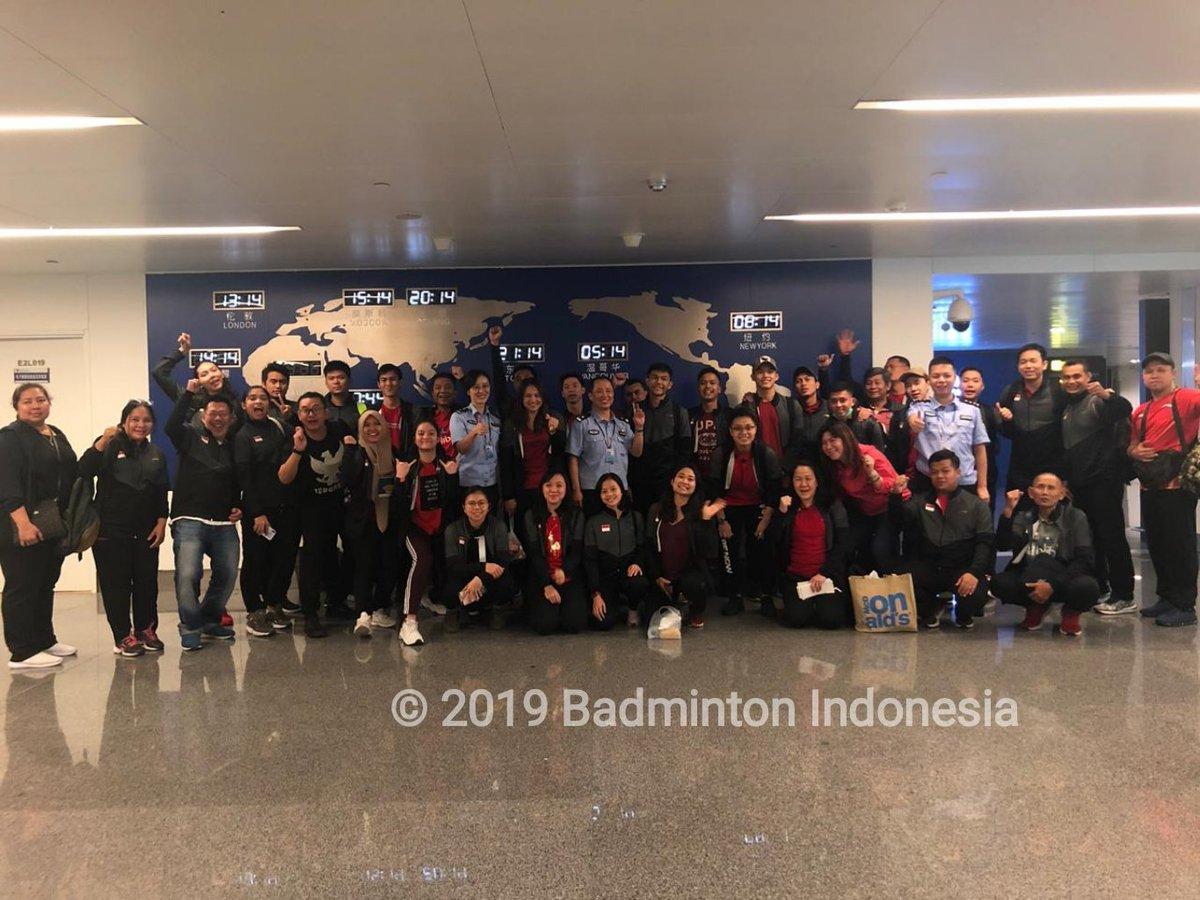 Tim Indonesia yang akan berlaga di Piala Sudirman 2019 tiba di Nanning, China, Rabu (15/5/2019) malam waktu setempat