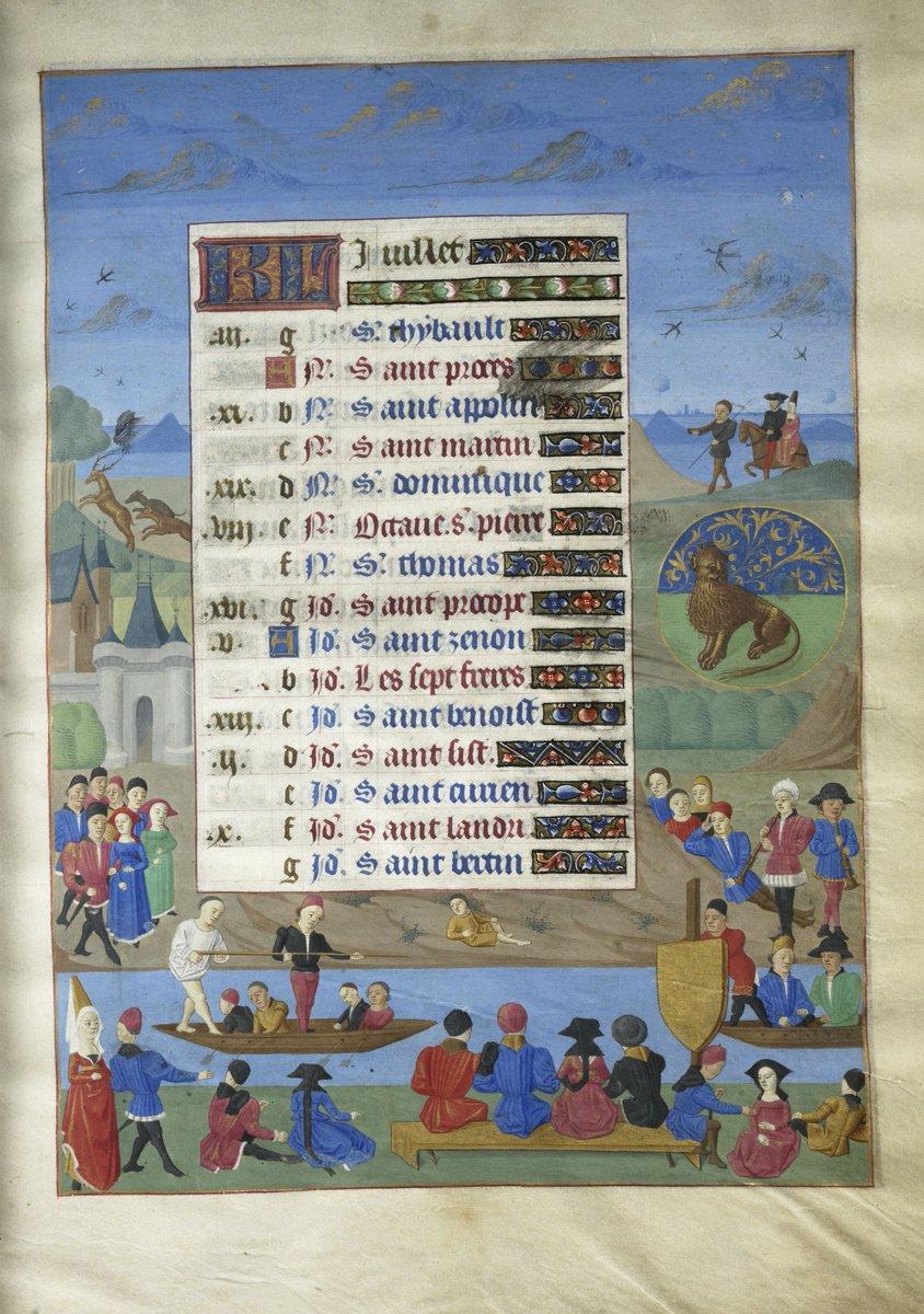 Laristocratie était friande de nombreux divertissements comme les joutes nautiques. Elles illustrent ici la page du calendrier consacrée au mois de juillet. dans le manuscrit Les Heures d'Adélaïde de Savoie enluminé vers 1470. #PlayMW #Bibliothèque #MuseeConde
