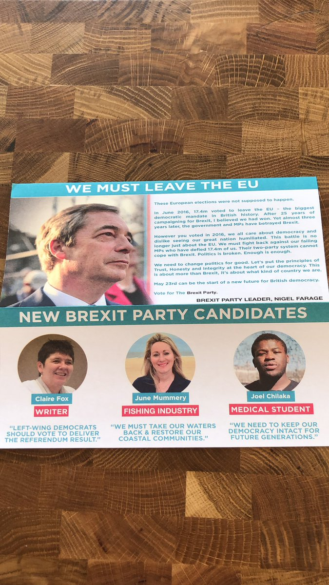 """Hilarious propaganda from the plastic politicians of  @brexitparty_uk """"we must leave the EU"""" when we were prevented from doing so by, the politicians! Democracy is dead, you have lost trust and confidence. #clairefox #junemummery #joelchilika jokes! @mrjamesob"""