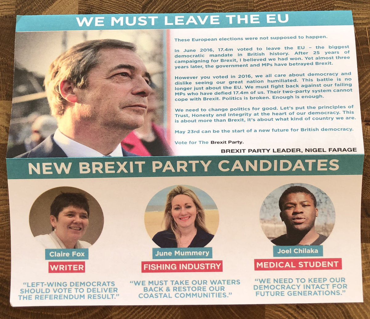 """Hilarious propaganda from the plastic politicians of  @brexitparty_uk """"we must leave the EU"""" when we were prevented from doing so by, the politicians! Democracy is dead, you have lost trust and confidence. #clairefox #junemummery #joelchilika jokes! @mrjamesob #remain"""