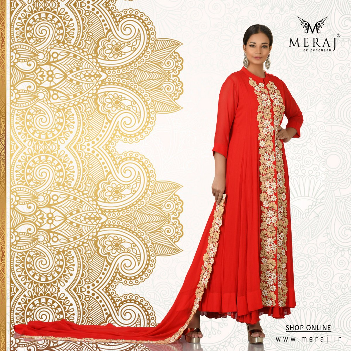 5157b8aaa3 The red-hued georgette indo western embellished with Resham Parsi work  makes a perfect party