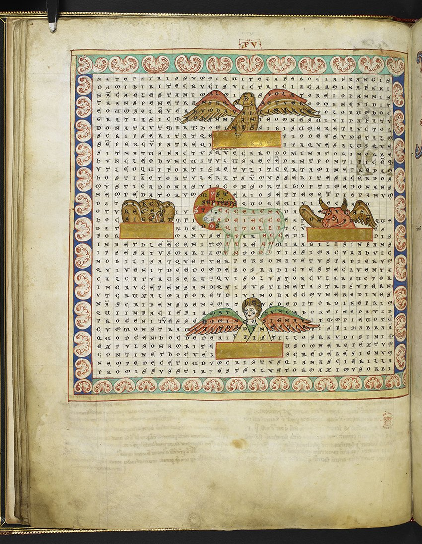 A medieval word search? What is preserved in this 800-year-old manuscript from #MakingYourMark is actually a poem written out in a grid. Groups of letters inside the text form separate verses delineated by the illustrations. This wordplay shows the playfulness of writing. #PlayMW <br>http://pic.twitter.com/sF8prrRn0a