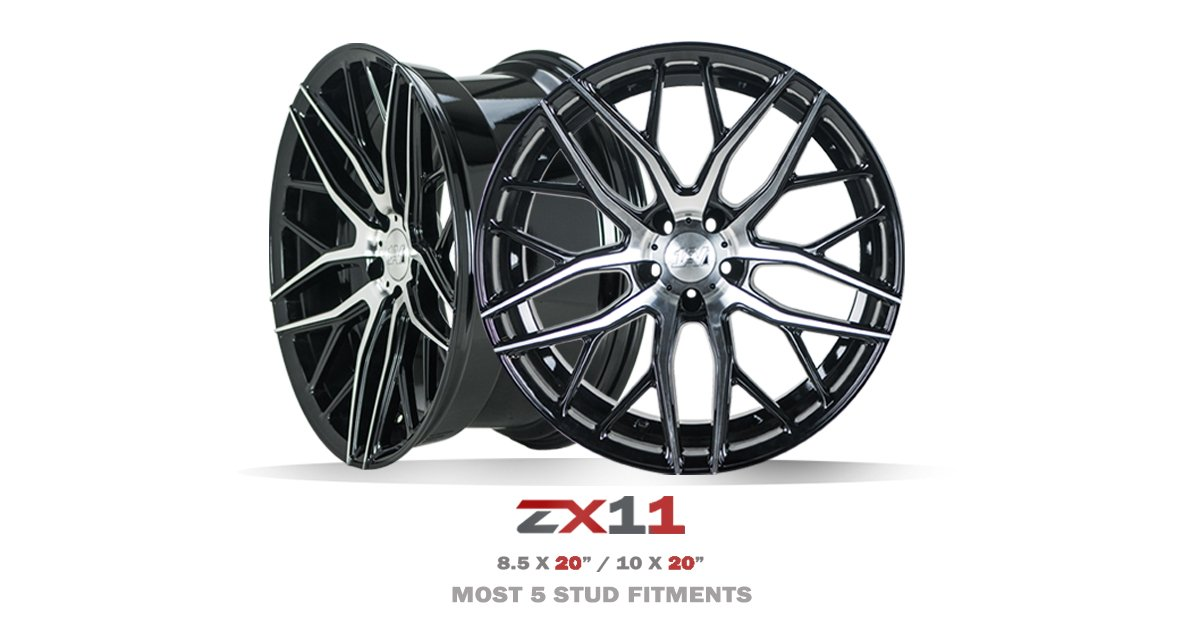 """ZX11 in Black Polish  Available in 20"""" Staggered  (Most 5 stud fitments)  #1AV #Concave"""
