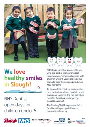 Parents! Introduce your under 5 to the dentist at our Starting Well open days on May 29. There are 5 dental practices to choose from. Children's appointments are free, phone up and book your child's first appointment today!  http:// slough.gov.uk/news/newsdetai l.aspx?id=20782  …  #startingwell #oralhealth<br>http://pic.twitter.com/0VfDLn7Y9d