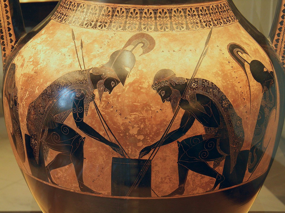 #MuseumWeek #PlayMW Attic black-figure amphora depicting Achilles and Ajax, identified by inscriptions, seated on low stools and playing a board game with a die. Achilles is winning, he has thrown a four, while Ajax has a three. 540-530 BC. Vatican Museums, Rome.