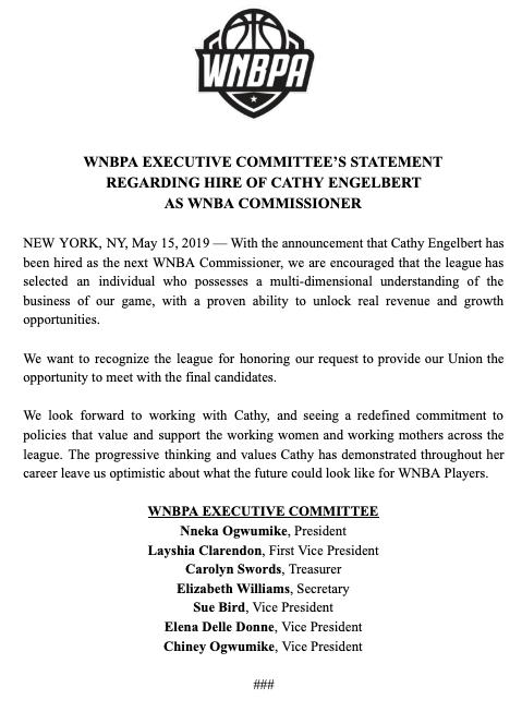 WNBPA Executive Committee Statement Regarding Hire of @CathyEngelbert as @WNBA Commissioner