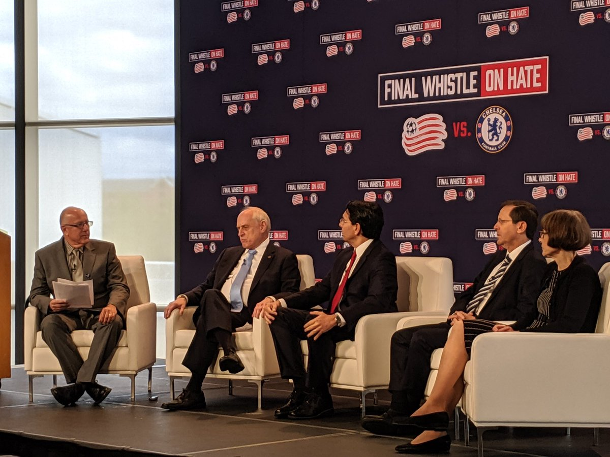 #FinalWhistleOnHate game day panel of experts encouraging everyone to never remain silent in the face of #antisemitism. TY @ChelseaFC @NERevolution for taking the lead and inspiring current & future leaders #NERevs – at John F. Kennedy Presidential Library & Museum