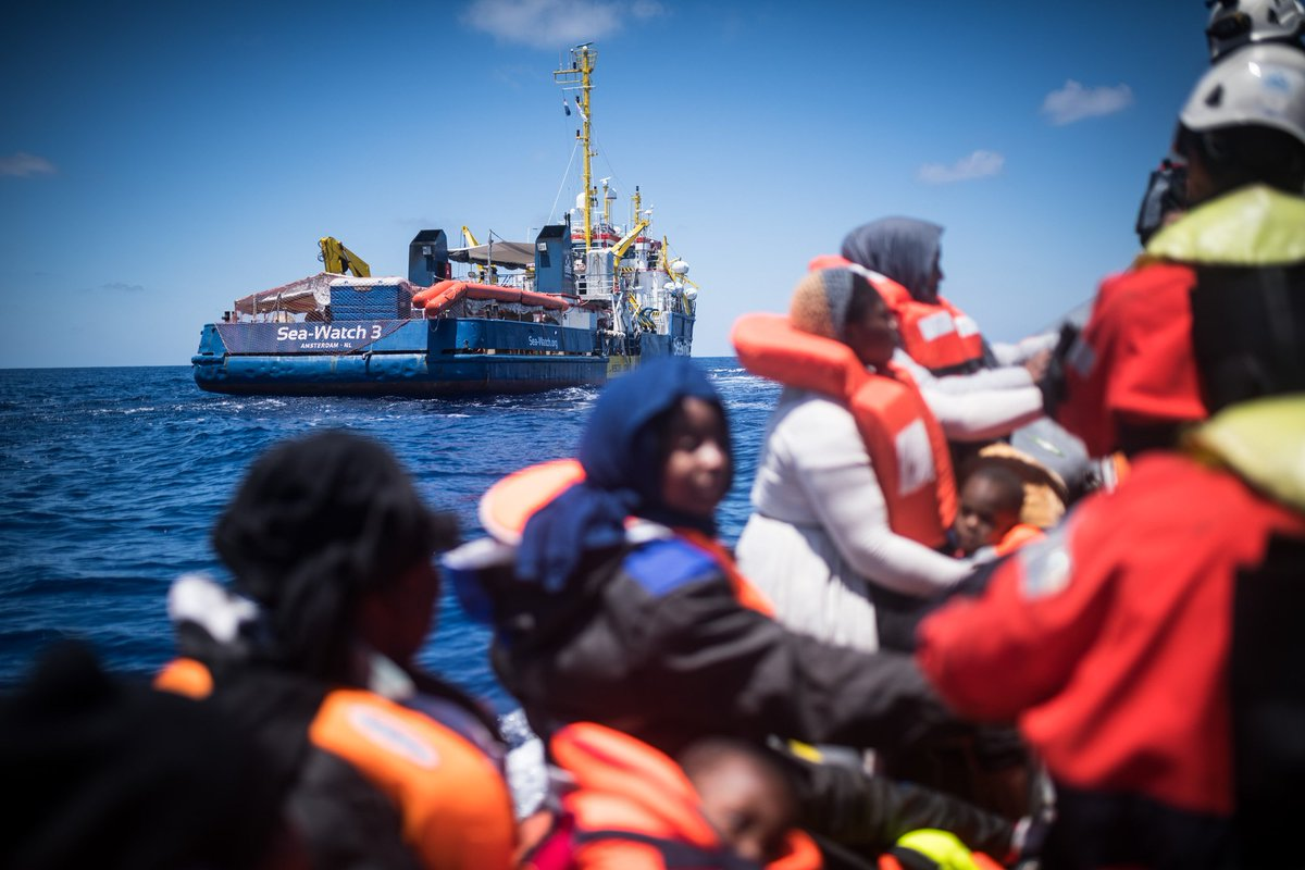 Last week 70 people drowned, 240 have been illegally &amp;forcibly returned to Libya on behalf of Europe. Today #SeaWatch3 could prevent another tragedy and rescued 65 people. #TellEUrope  that those people are humans! When do you start treating them as such &amp; where is our safe port? <br>http://pic.twitter.com/5QhOpQfTPi