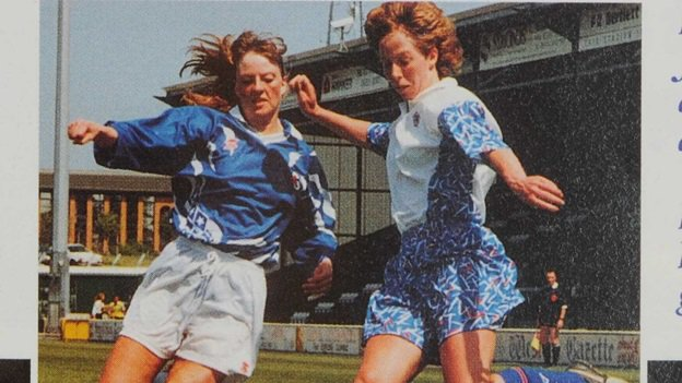 In 1895 one of the first recorded women's football matches took place in London. Explore a century of women's football through a display of unique archive material now in our #BLTreasures Gallery  http:// ow.ly/aoea50ub62V  &nbsp;   #PlayMW  Image used with kind permission of Patricia Gregory <br>http://pic.twitter.com/2C2CNxNaOH