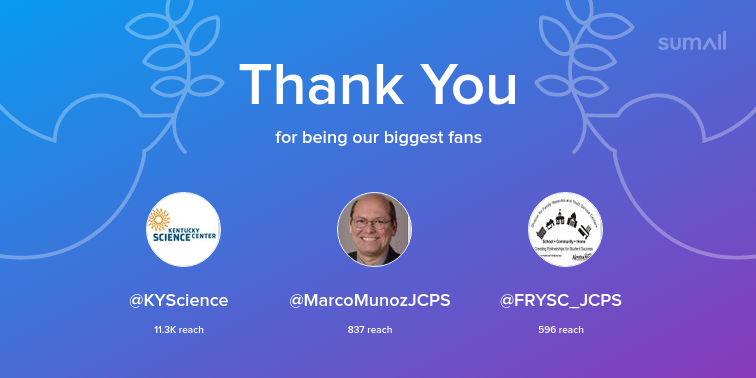 Our biggest fans this week: KYScience, MarcoMunozJCPS, FRYSC_JCPS. Thank you! via sumall.com/thankyou?utm_s…