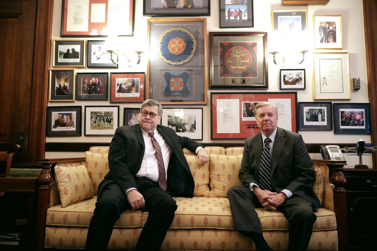 Two TRAITORS: Barr and Graham #LindseyGrahamObstructed #LindseyGrahamResign<br>http://pic.twitter.com/cnkBIUr0L8