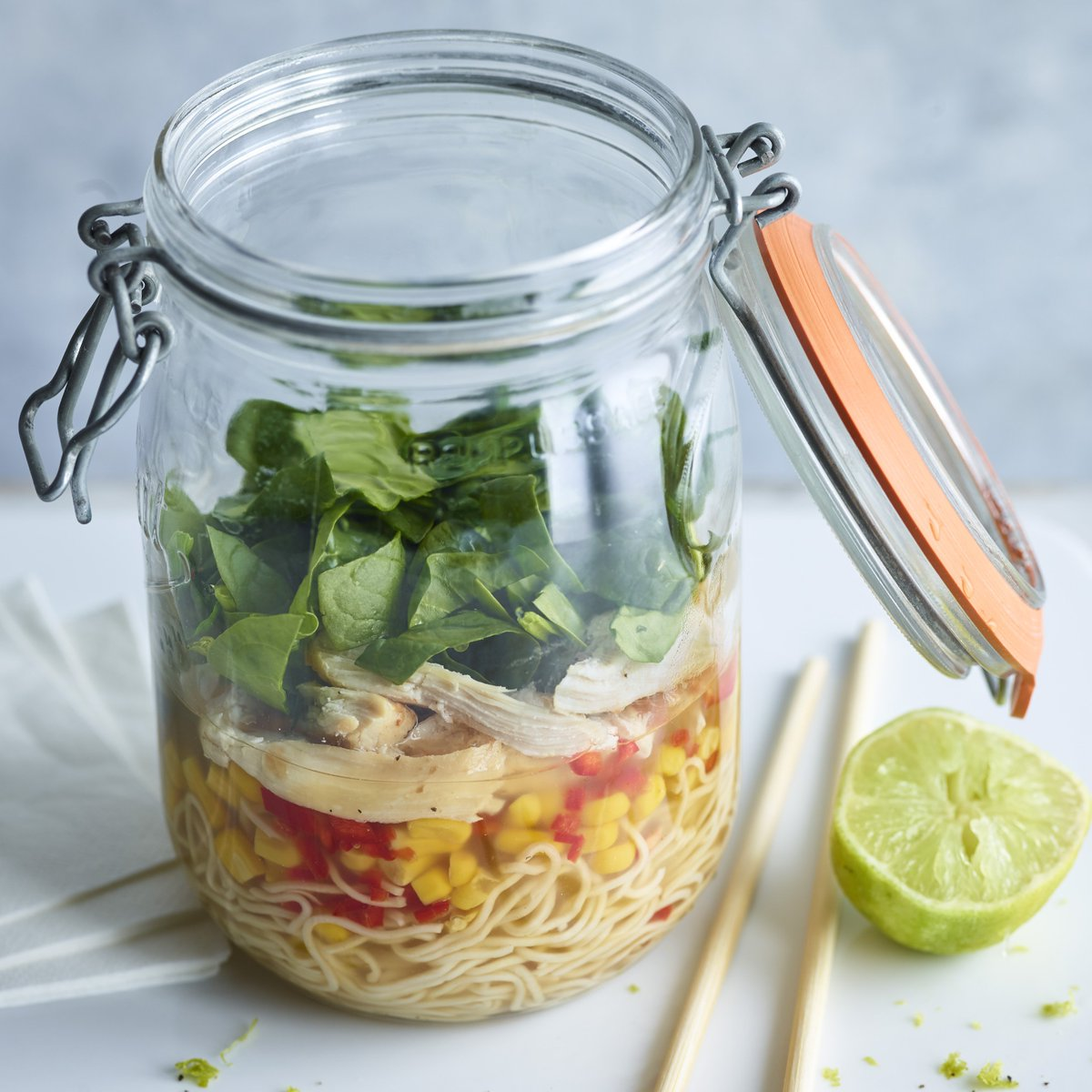 All you need is a kettle to make this hot packed lunch. https://www.bbc.com/food/recipes/chicken_and_sweetcorn_44908…
