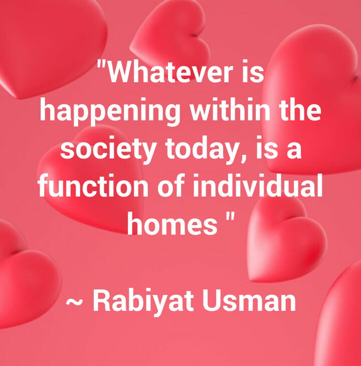 """""""Whatever is happening within the society today, is a function of individual homes"""" ~ Rabiyat Usman  #InternationalDayofFamilies #InternationalFamilyDay #dayoffamilies #FamiliesOfToday  #WednesdayWisdom #WednesdayMotivation #wednesdaythoughts #EqualityAdvocate pic.twitter.com/nN1EbXnDe0"""