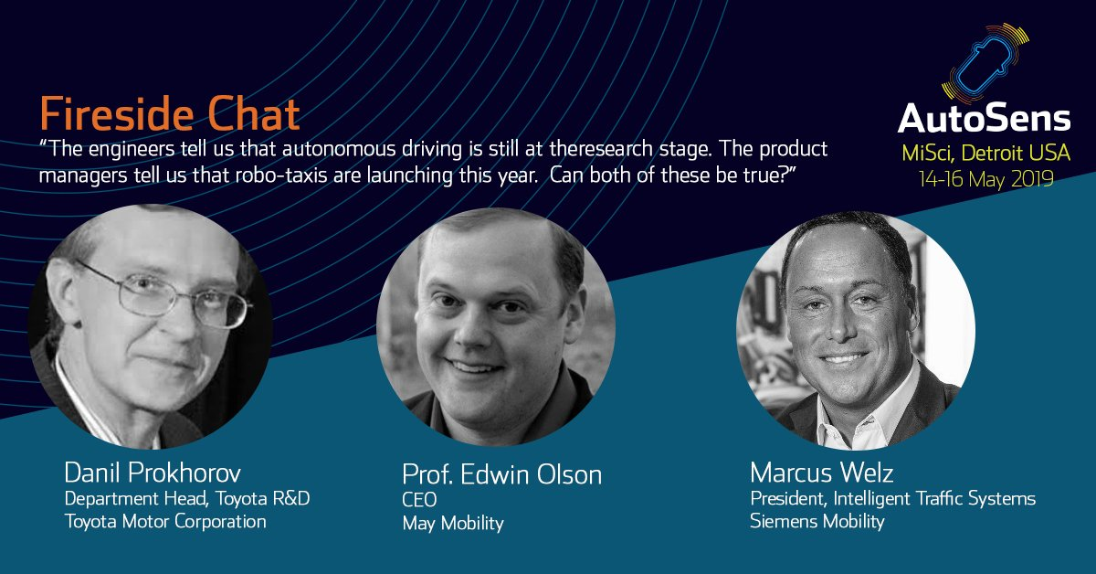Fireside Chats with Danil Prokhorov, Project Leader and Research Manager, @ToyotaMotorCorp Marcus Welz, @SiemensMobility Bytemark Prof. Edward Olson, @May_Mobility. Moderated by @TechCrunch https://hubs.ly/H0hRc8s0 #autonomousdriving #engineers #productmanagers