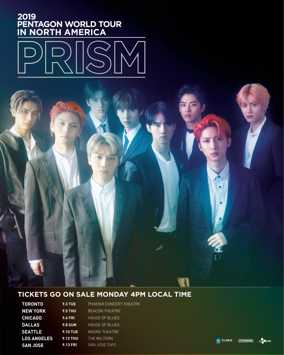 📣 JUST ANNOUNCED- 2019 @CUBE_PTG WORLD TOUR <PRISM> in North America! UNIVERSE's! Grab your tickets next Monday, 5/20 at 4pm local time. Find all show details at ➡️ LiveNation.com #PENTAGON #펜타곤 #PRISM #2019_PENTAGON_WORLD_TOUR