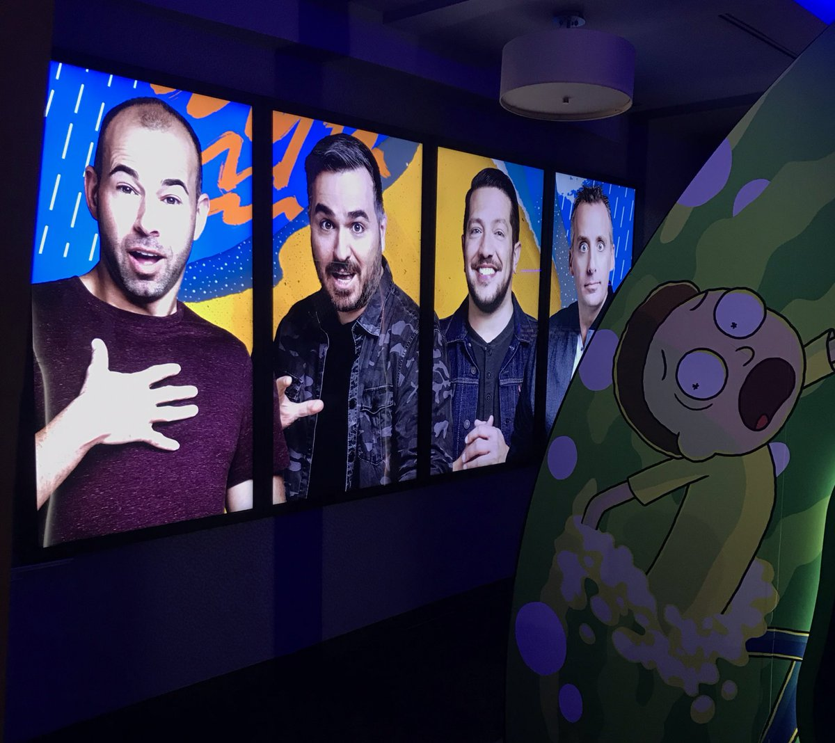 Just four chill Ricks hanging at the  #WarnerMediaUpfront with their Morty. #ImpracticalJokers #RickAndMorty  #Upfronts2019<br>http://pic.twitter.com/vm4kjVbeLY