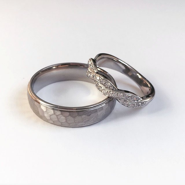 test Twitter Media - 🤔 People often think that your wedding rings have to match, and that only the bride's eternity ring should have diamonds in - there is no rhyme or rule to this at all! You can do whatever you like and adhere to each of your personal tastes! ❤️ #wyldebespoke https://t.co/38GcZeoEx6